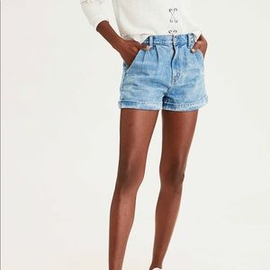Pleated High Rise Mom Short by American Eagle